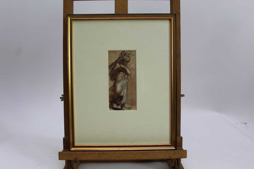 Louisa Anne, Marchioness of Waterford (1818-1891) monochrome watercolour - Gathering Wood, togethe - Image 2 of 6