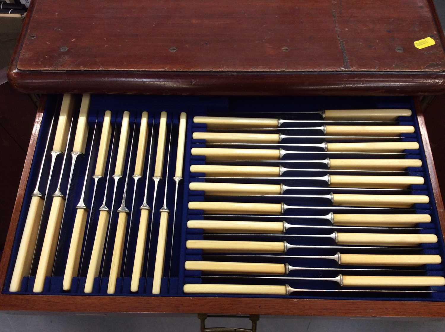 Mahogany six drawer cutlery canteen, containing a composite set of silver plated cutlery - Image 7 of 9