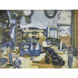 Richard Bawden (b. 1936) etching and aquatint in colours, Clutter, signed, artists proof, unframed.