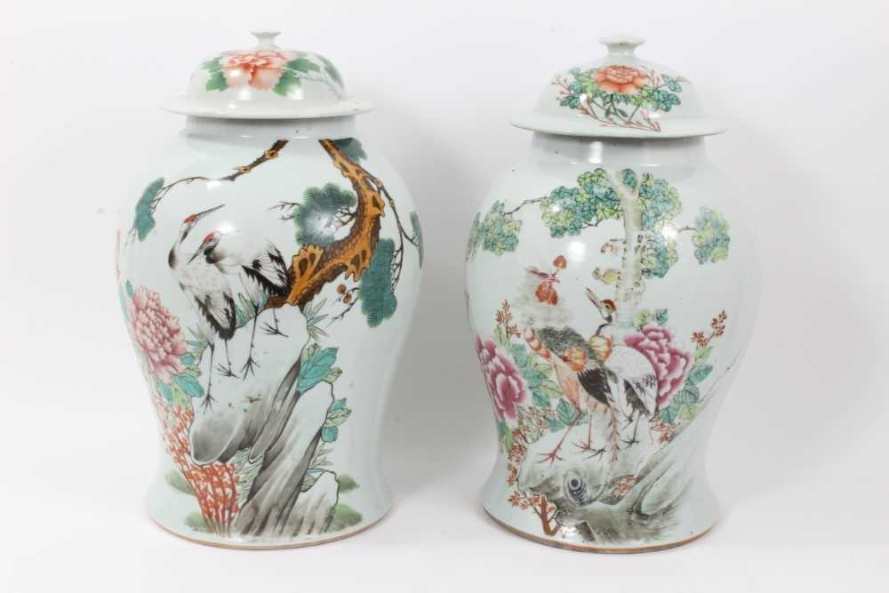 Pair of Chinese republic vases and covers