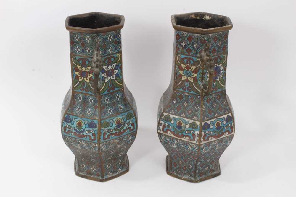 Pair of antique Chinese cloisonné enamel and brass vases, 30.5cm - Image 4 of 5
