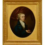 John Greham, late 18th century, oval oil on canvas - portrait of a gentleman, in gilt frame