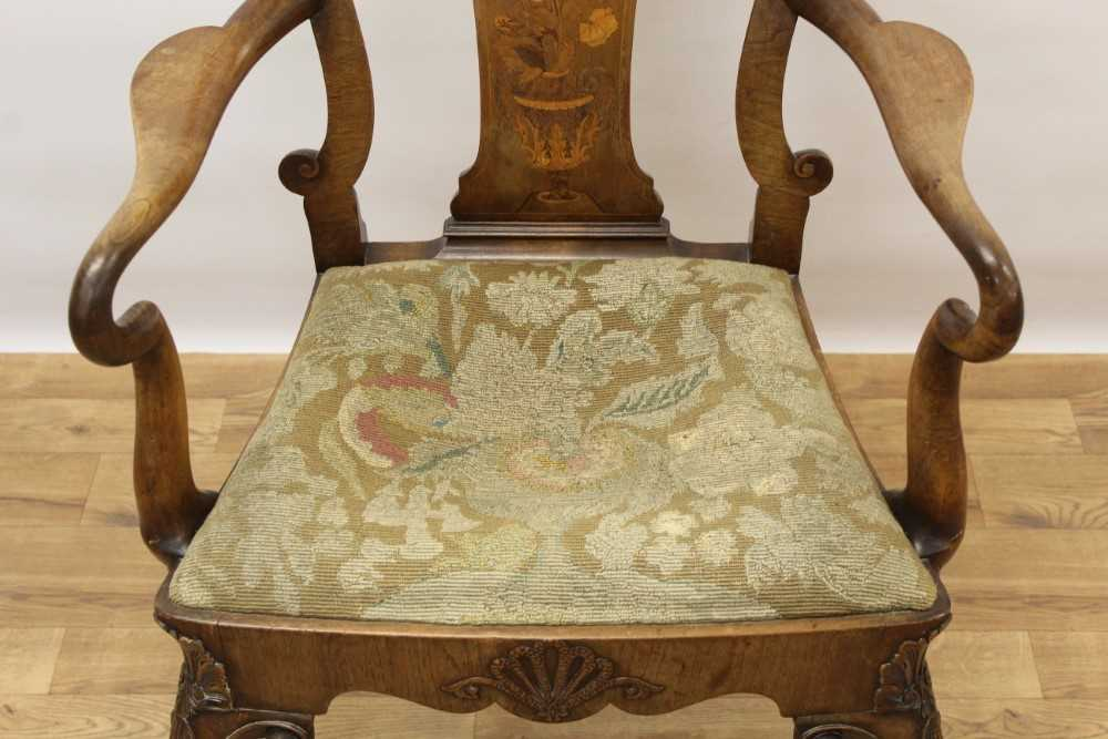 George I style walnut and inlaid crook arm elbow chair - Image 7 of 9