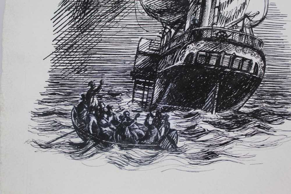 Phyllis Ginger (1907-2005) pen and ink drawing - The Paddle Steamer, unframed Provenance: Chris Be - Image 3 of 6