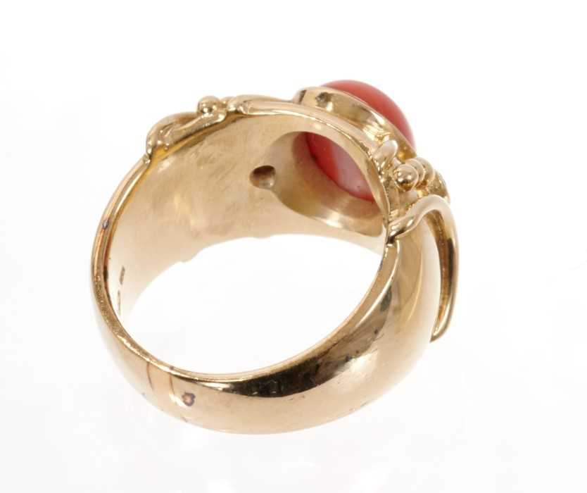 Coral and diamond dress ring, the wide 14ct yellow gold band with a central oval coral cabochon flan - Image 3 of 3