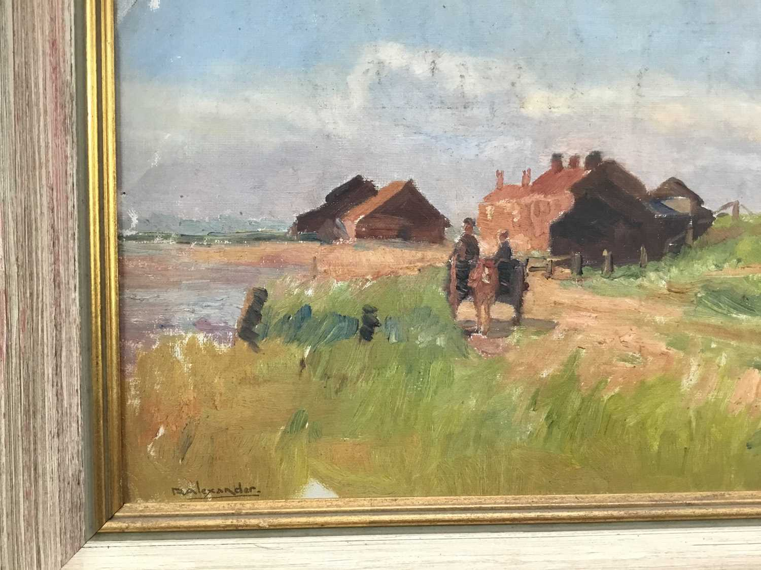 Robert G. D. Alexander (1875-1945) oil on canvas laid on board - Kirby Quay, Essex, with Carters Mil - Image 5 of 9