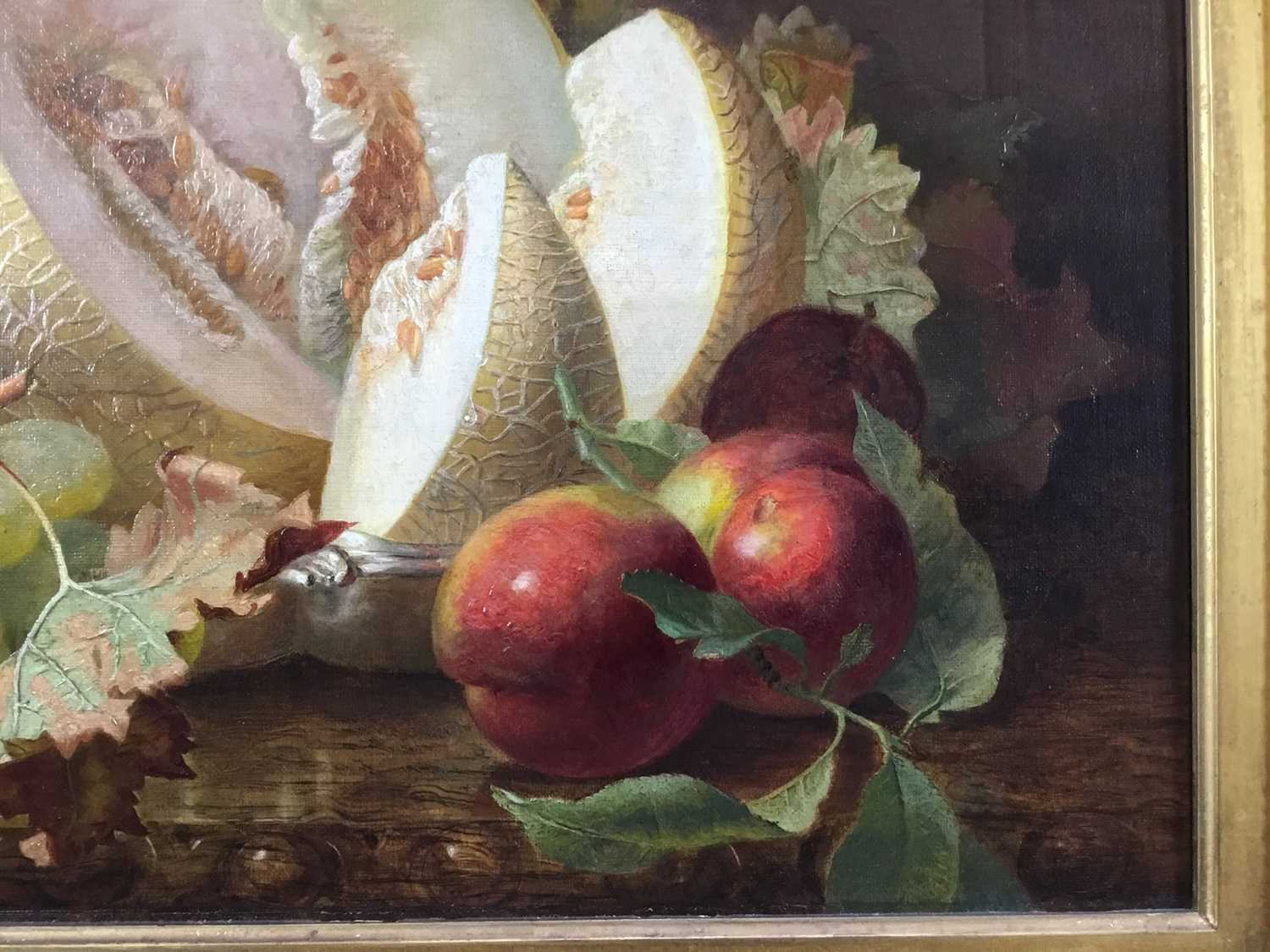 Eloise Harriet Stannard (1828-1915) oil on canvas, Peaches and grapes - Image 9 of 10