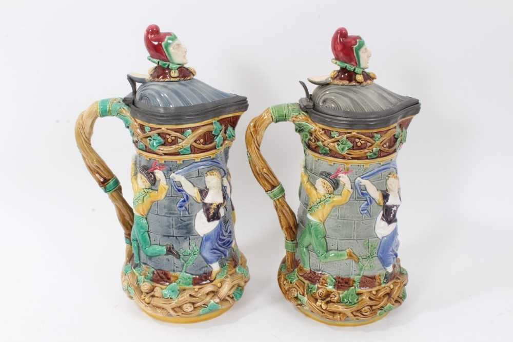 A matched pair of Minton Majolica 'Tower' jugs, 1881 and 1883, 33cm height - Image 3 of 8