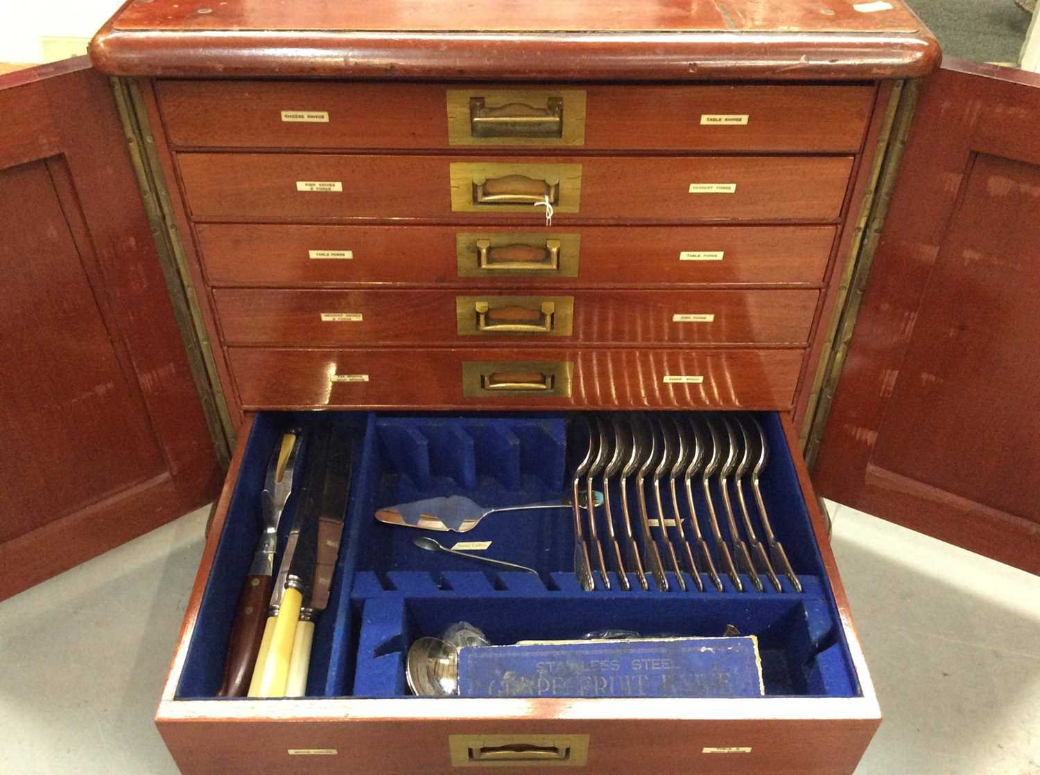 Mahogany six drawer cutlery canteen, containing a composite set of silver plated cutlery