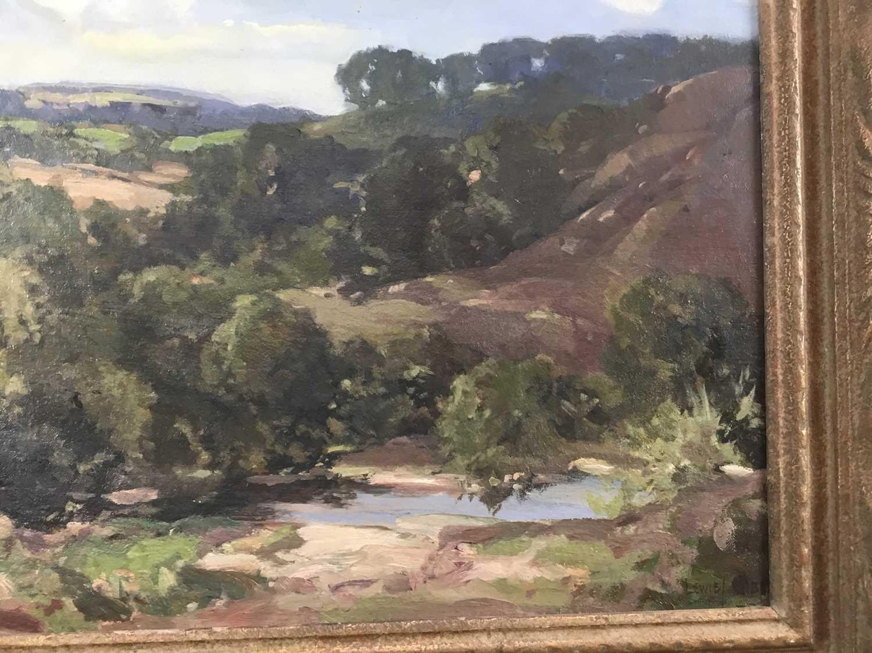 Lewis Taylor Gibb (1873-1945) oil on canvas - Extensive Landscape, signed, 39cm x 49cm, in gilt fram - Image 4 of 9