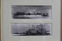 Roy Hammond (b.1934) pair of charcoal and monochrome watercolours - Battersea & Chelsea, signed and