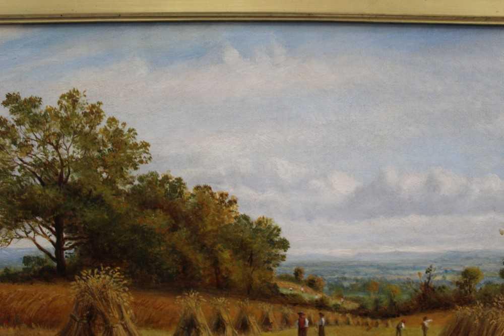 J Hughes - late 19th century oil on canvas in original gilt frame - Sunny Cornfield. 29cm x 44.5cm - Image 7 of 11