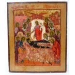 Icon of the Dormition of The Virgin 18th Century Russian polychrome painted icon