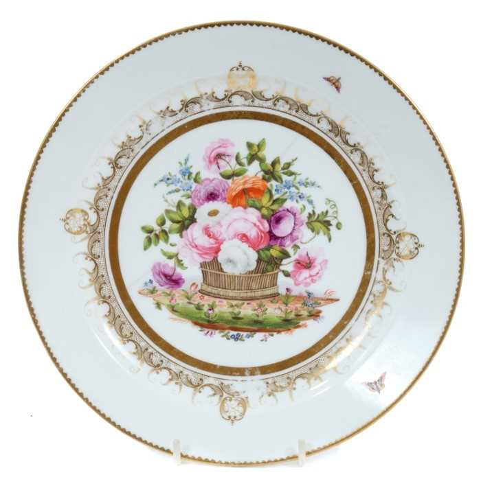 Swansea plate from the Burdett Coutts service, circa 1815-17, finely painted with an overflowing bas