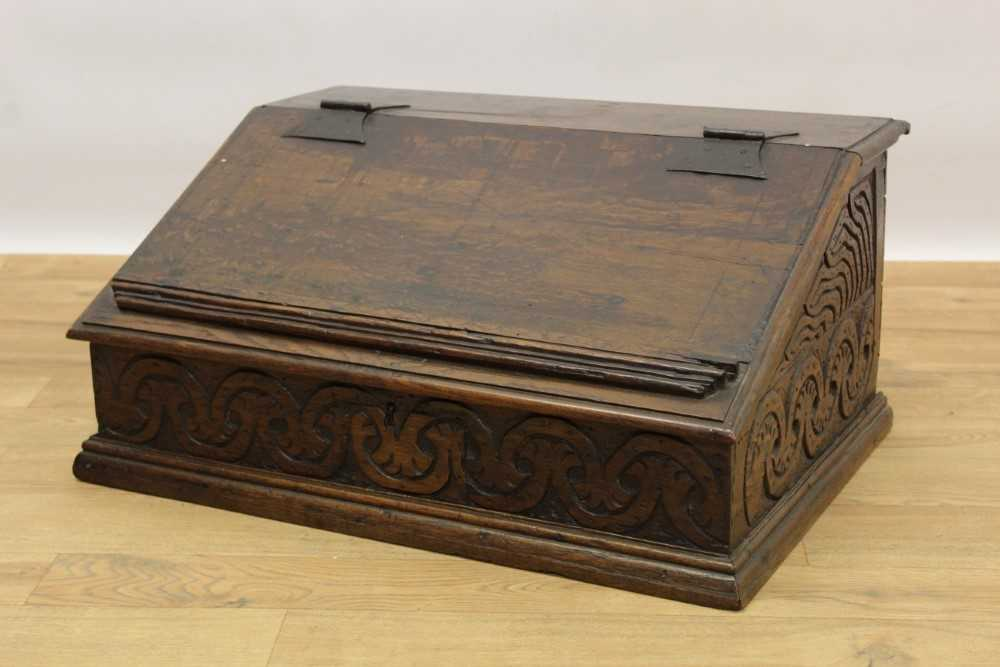 Late 17th century carved oak bible box
