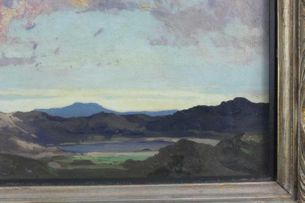 Lewis Taylor Gibb (1873-1945) oil on canvas - Extensive Landscape, 29cm x 33cm, in glazed gilt frame - Image 4 of 8
