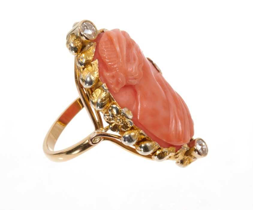 Carved coral cameo and diamond ring with an oval relief carved coral cameo depicting a classical fem - Image 2 of 3