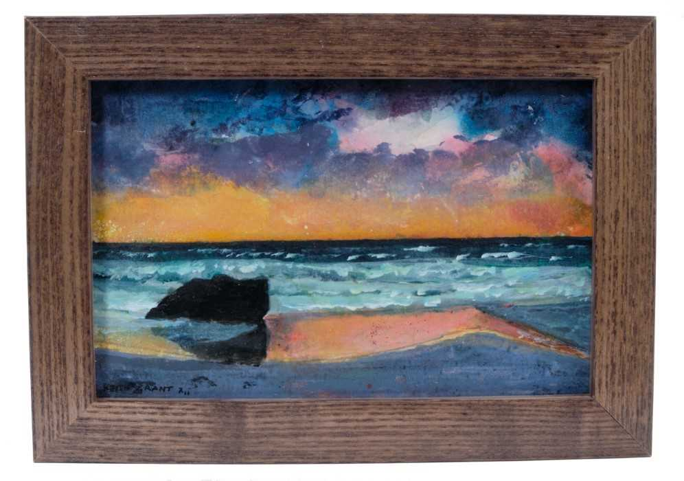 *Keith Grant (b.1930) acrylic on board - The Boulder and the Sea, signed and dated '11, in glazed fr