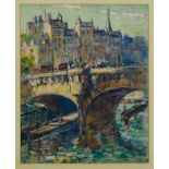 Harry Phelan Gibb (1870-1948) oil on canvas laid on board - Le Pont Neuf, signed and dated 1909, 40c