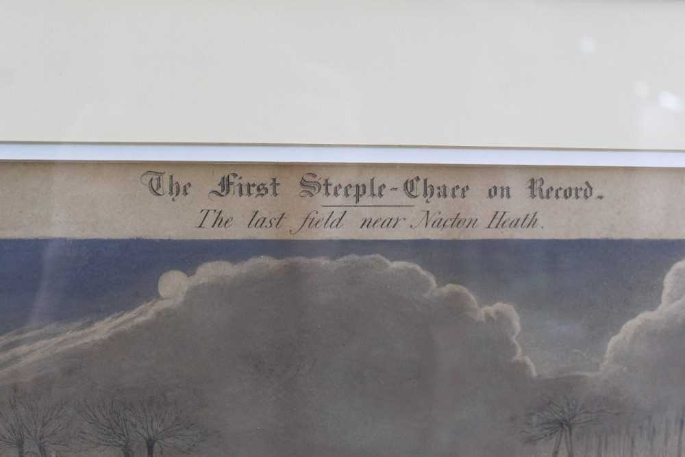 Henry Alken, set of four hand coloured engravings - First Steeple Chase on Record - Image 10 of 11