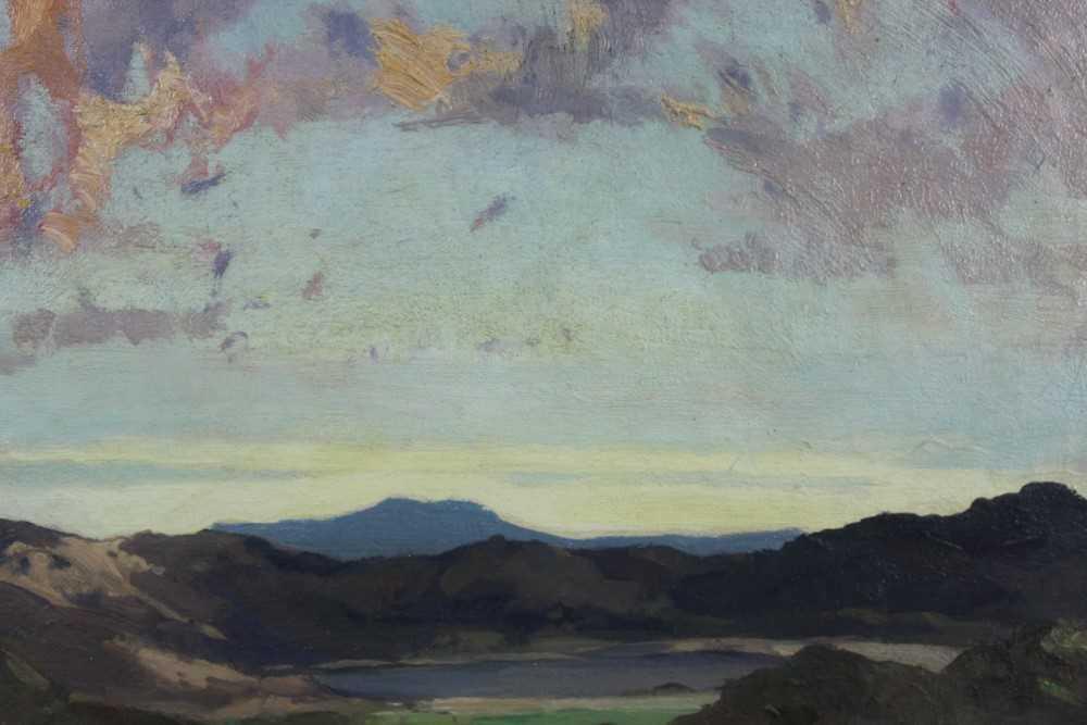 Lewis Taylor Gibb (1873-1945) oil on canvas - Extensive Landscape, 29cm x 33cm, in glazed gilt frame - Image 7 of 8