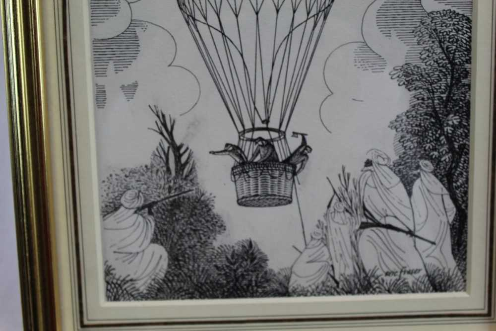 Eric Fraser (1902-1983) pen and ink on board - Five Weeks in a Balloon, signed, in glazed gilt frame - Image 2 of 5