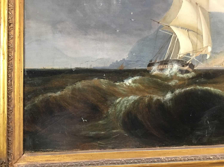 John Lynn (act.1826-1869) oil on canvas - British Frigate off Gibraltar, circa 1835, 49cm x 60cm, in - Image 13 of 15