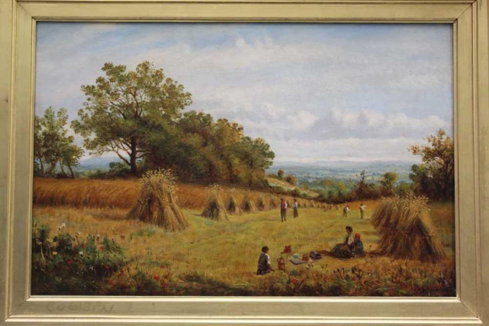 J Hughes - late 19th century oil on canvas in original gilt frame - Sunny Cornfield. 29cm x 44.5cm