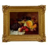 Eloise Harriet Stannard (1829-1915) oil on canvas, still life of melons and grapes