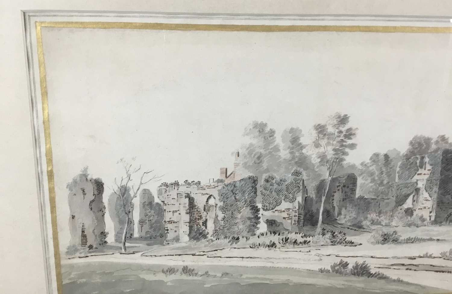 English School, early 18th century, monochrome pen, ink and watercolour - Castle Ruins, with mark fo - Image 2 of 8