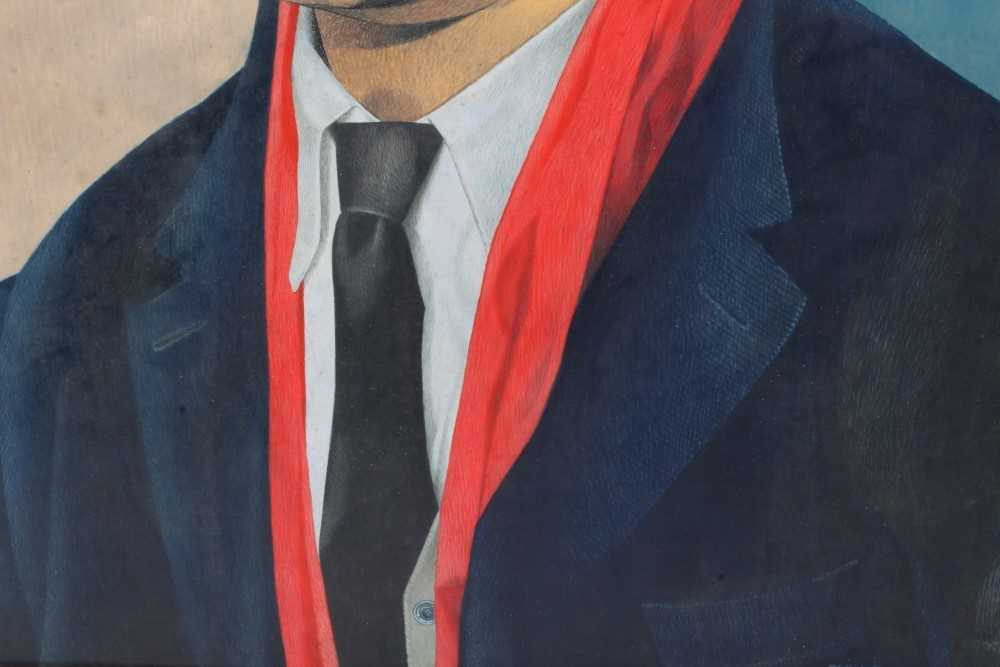 *Francis Plummer (1930-2019) egg tempera on board - portrait of a Jamaican Lawyer, signed and dated - Image 3 of 5