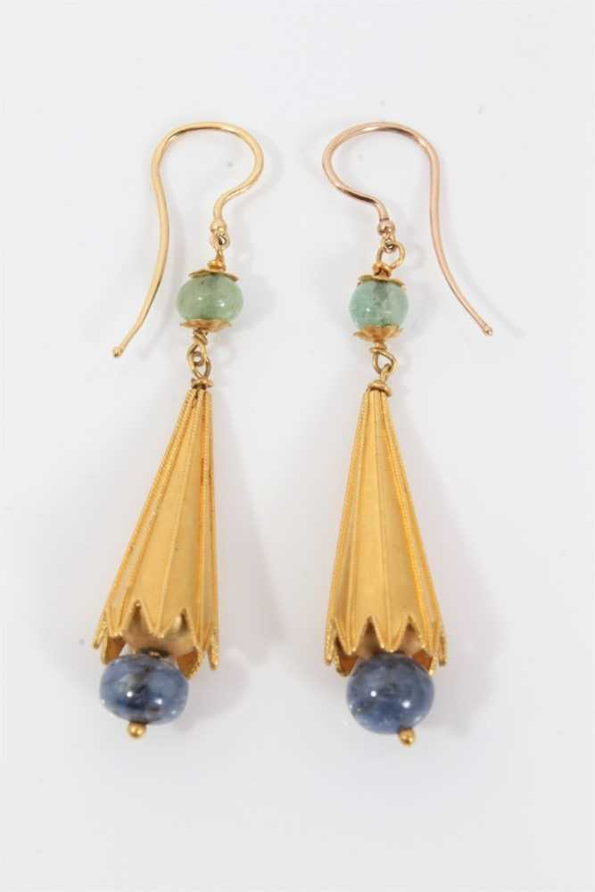 Pair of Etruscan revival gold, emerald and sapphire bead pendant earrings, each with a emerald bead