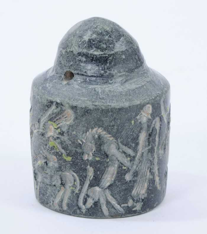 Rare early carved stone cylinder seal, possibly Assyrian, with pierced terminal and profusely carved