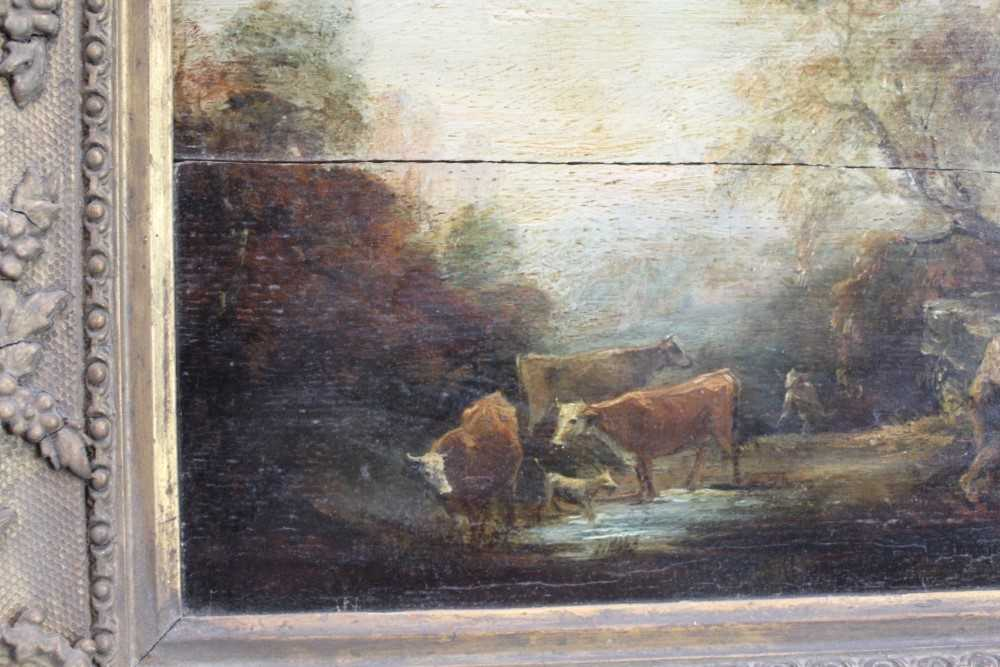 Manner of Thomas Gainsborough oil on panel - cattle and herders in landscape, in gilt frame - Image 3 of 15