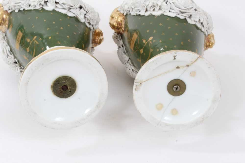 Pair of Paris porcelain vases, 19th century, decorated with swags of encrusted flowers on a green an - Image 11 of 11
