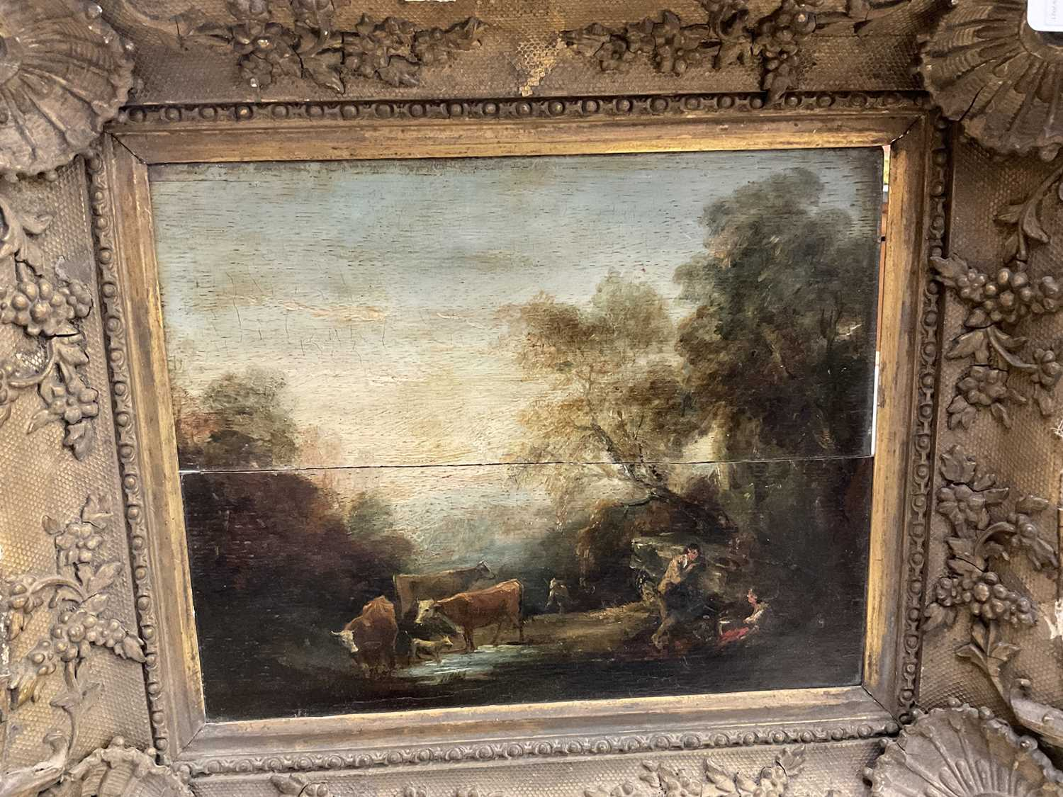 Manner of Thomas Gainsborough oil on panel - cattle and herders in landscape, in gilt frame - Image 13 of 15