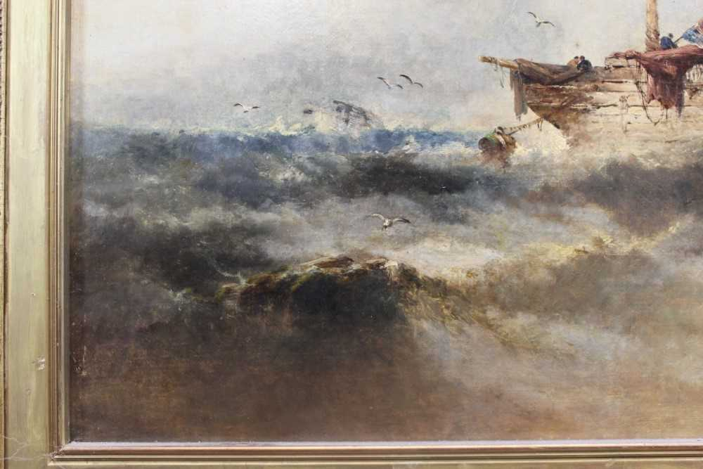 Manner of William Henry Williamson oil on canvas - shipping off the coast, in gilt frame - Image 5 of 27