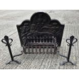 Cast iron fire back, fire basket and firedogs