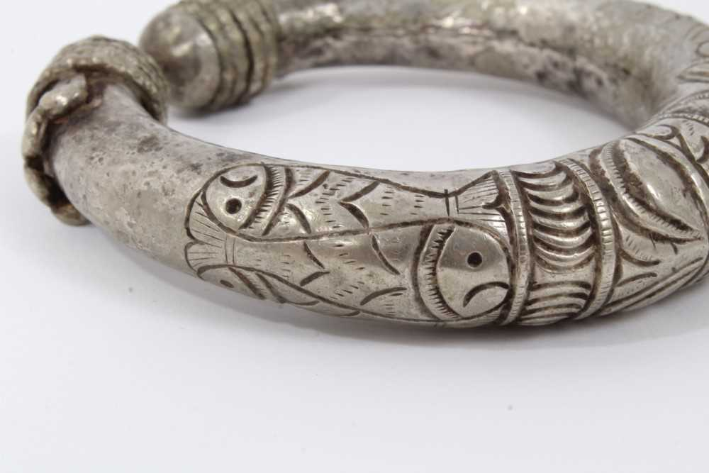 North African silver torque, decorated with fish and geometric motifs, 10cm wide - Image 3 of 6