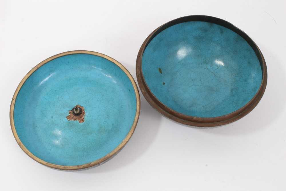 Japanese cloisonné pot and cover, together with another - Image 4 of 10
