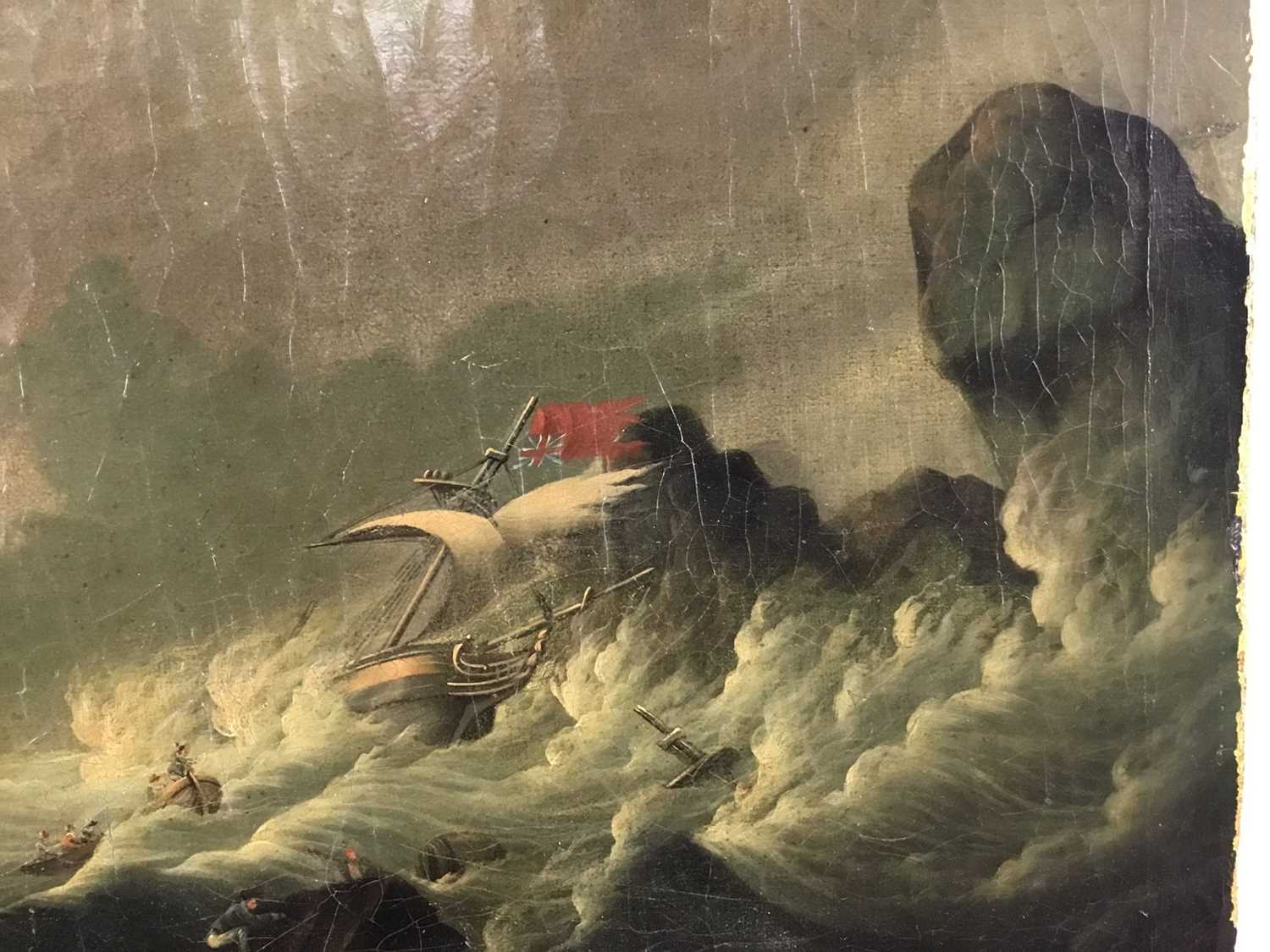 Attributed to Joseph Vernet (1714-1789) oil on canvas - shipping crashing against the rocks, 55cm x - Image 6 of 12