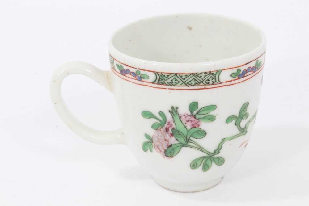 Bow coffee cup, circa 1752, decorated in the famille rose style with flowers and a patterned border, - Image 3 of 5