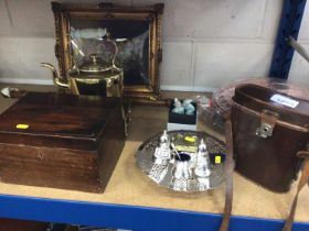 Lot plated ware, binoculars in case, metalware and sundries