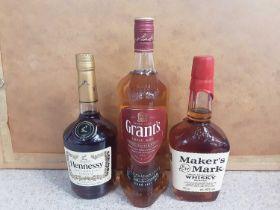 Bottle of Grant's blended scotch whisky 1 litre, bottle of Hennessy Cognac 70cl and bottle of Maker'