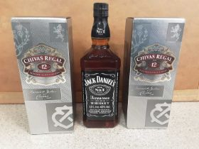 Two bottles of Chivas Regal 70cl aged 12 years blended scotch whisky, in original boxes, and a 1 lit
