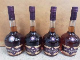 Four bottles of Courvoisier V.S Cognac 70c