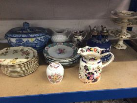 Quantity of ceramics, including a blue and white tureen, Victorian plates, Masons jugs, etc