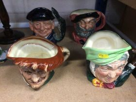 Four Royal Doulton character jugs - Drake, Sarey Gamp, Falstaff and Lobster Man