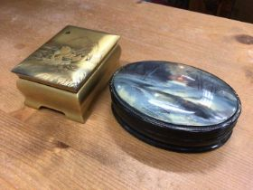 Japanese lacquer box, together with a Russian lacquer box