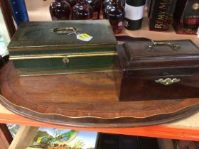 Large 19th-century mahogany inlaid tray, together with a Victorian mahogany stationery box and a tol